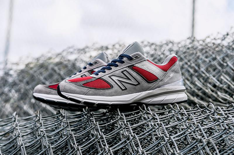"YCMC x New Balance 990v5 Release Information ""Loyalty"" Grey Pigskin Suede Upper Dark Overlays Red Mesh Blue Laces ENCAP Sole Unit Collaboration Footwear Sneaker Retro Design"