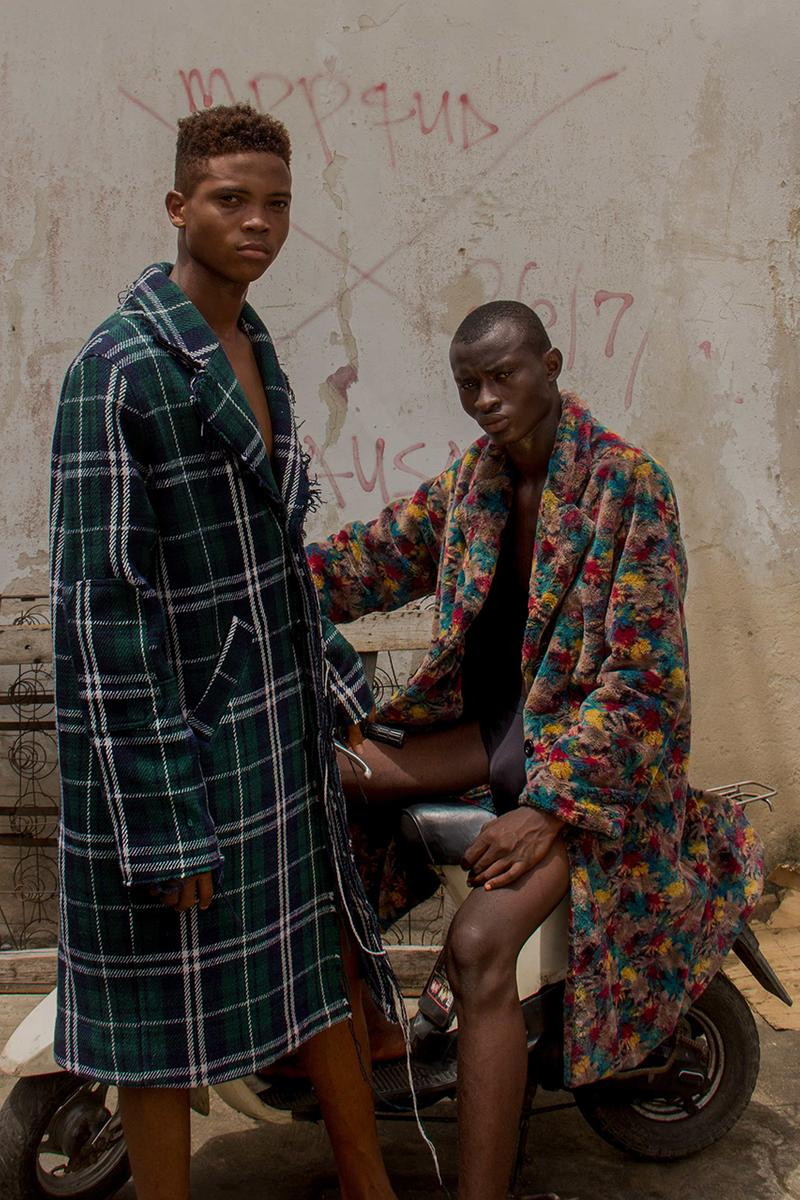 3.PARADIS Fall/Winter 2019 Campaign Shot By Stephen Tayo FW19 Lookbook Nigerian photographer Africa Photoshoot Menswear Clothing Emeric Tchatchoua Art Direction Creative Director Founder Outerwear Coats Tailoring Utilitarian Streetwear High End
