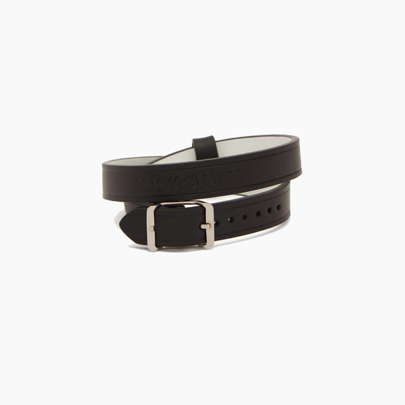 Maison Margiela Black Wrap-around Leather Bracelet