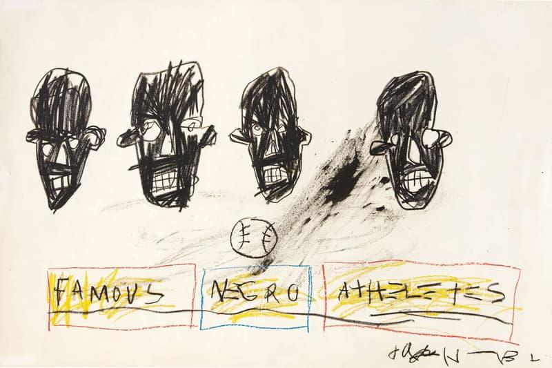 jean michel basquiat famous negro athletes art work drawing graffiti sothebys auction glenn obrien personal collection artist critic