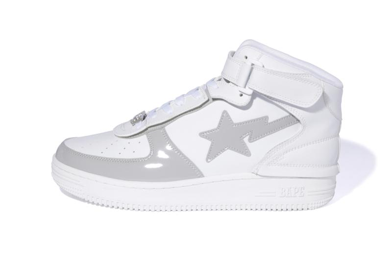 BAPE STA Mids for FW19 Release black white grey a bathing ape sneakers sta motif silver dubraes