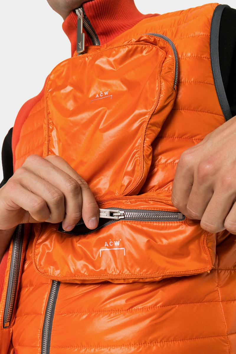 A-COLD-WALL* Asymmetric Pocket Padded Gilet Orange Pockets Ribbed Details Zippers Pouches