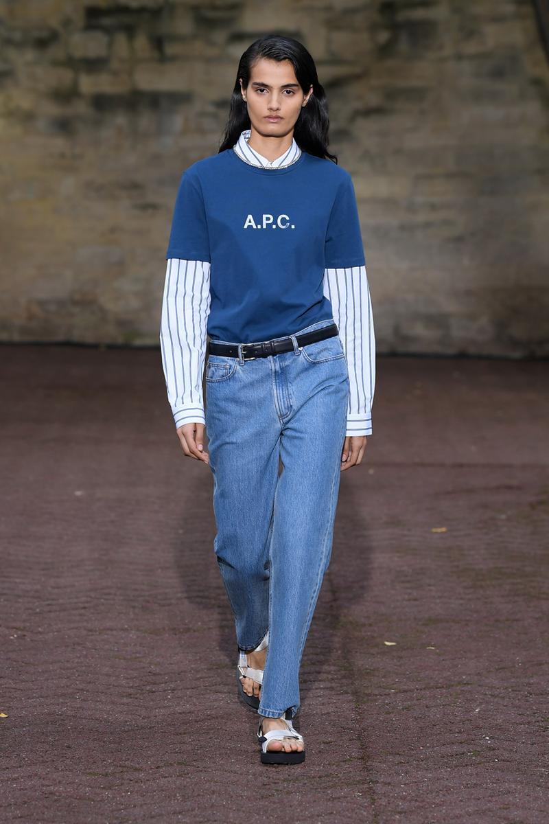 A.P.C. Spring/Summer 2020 Collection Runway Show Paris Fashion Week Shirts Pants Dresses Jackets Blue Green Beige Floral Monochrome Khaki Suicoke Sandals DEPA Hats Socks