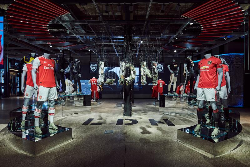 adidas Oxford Street London Flagship Store Re-Opening First Look Inside Football Focus Three Stripes Messi 15th anniversary boot installation digitally enhanced retail experience Manchester United Arsenal