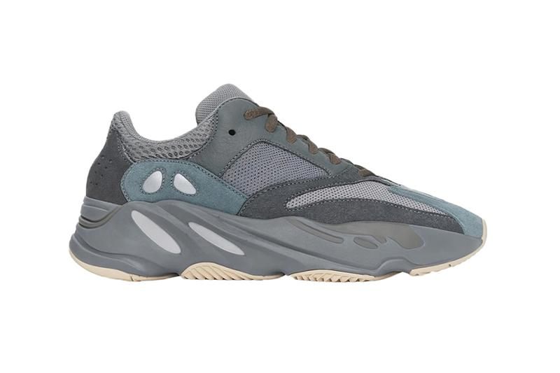 "StockX adidas YEEZY BOOST 700 ""Teal Blue"" Kanye West Jesus Is King album Release grey underlay cream colored rubber gumsole mesh suede construction teal blue toebox heel orange shoe laces reflective heel Three Stripe Details Forbes Interview"