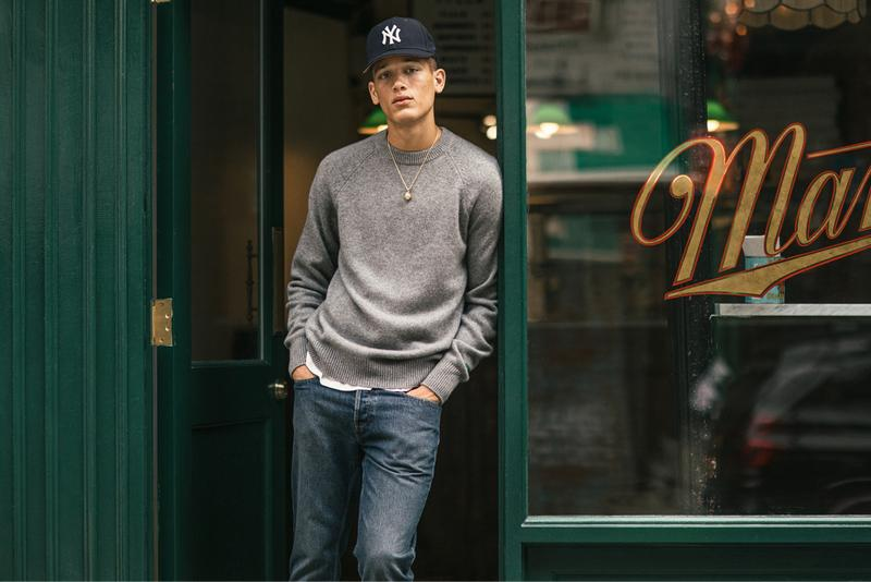 aime leon dore italian denim cashmere capsule collection release fall winter 2019 new era yankee hats collaboration ald penny loafers shoes collection release date october 4 2019 new york