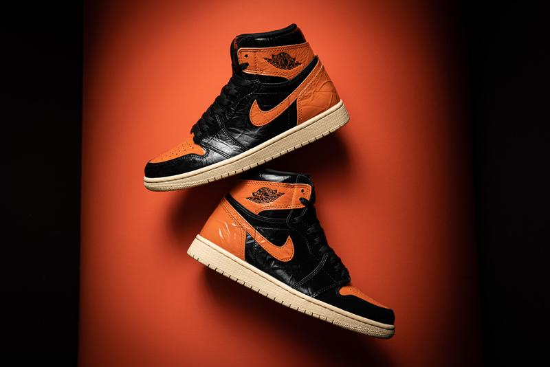 Stadium Goods Air Jordan 1 Retro High OG Shattered Backboard 3.0 Satin Shattered Backboard Reverse Shattered Backboard Original Black Orange glossy leather crinkled patent pale vanilla rubber sole