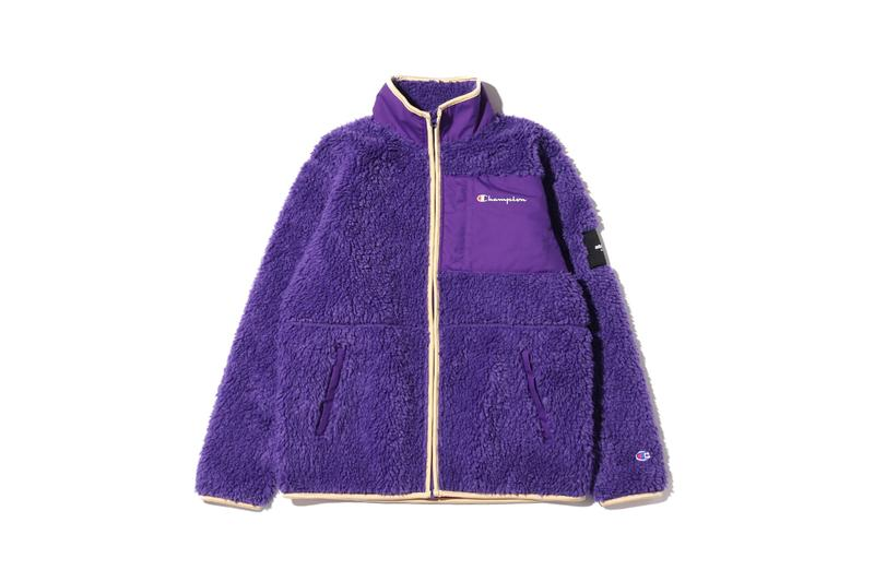 atmos lab tokyo champion fall 2019 collection capsule hoodie fleeces boa puffer down jacket hooded sweatshirt bucket hat green blue red purple