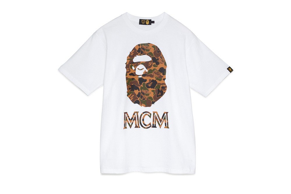 BAPE x MCM Fall Winter 2019 Collection collaborations fall winter lookbook videos ape head camo accessories bags leather goods footwear slides sandals keychains