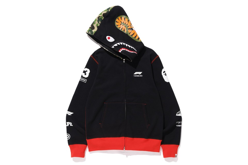 BAPE Second Formula 1 Collaboration Fall Winter 2019 f1 a bathing ape automobiles collaborations lookbooks shark hoodie