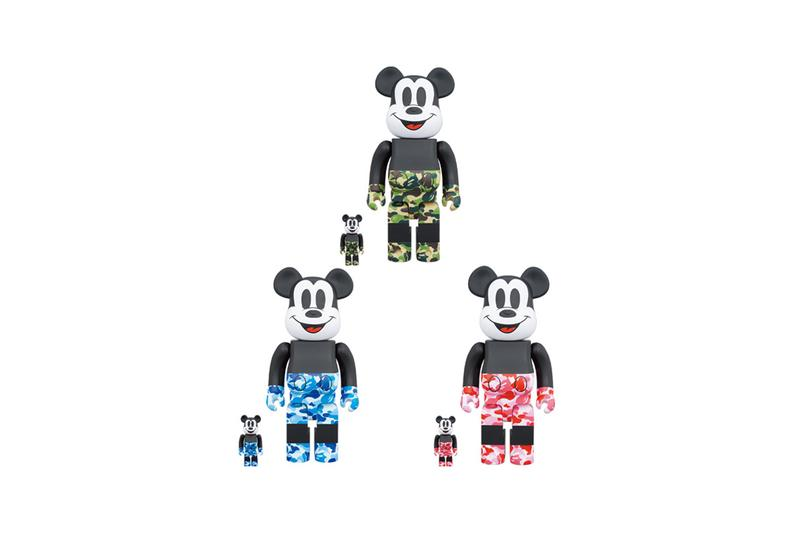 bape mickey mouse bearbrick medicom toy release 90th anniversary vinyl collectible doll vcd november 2