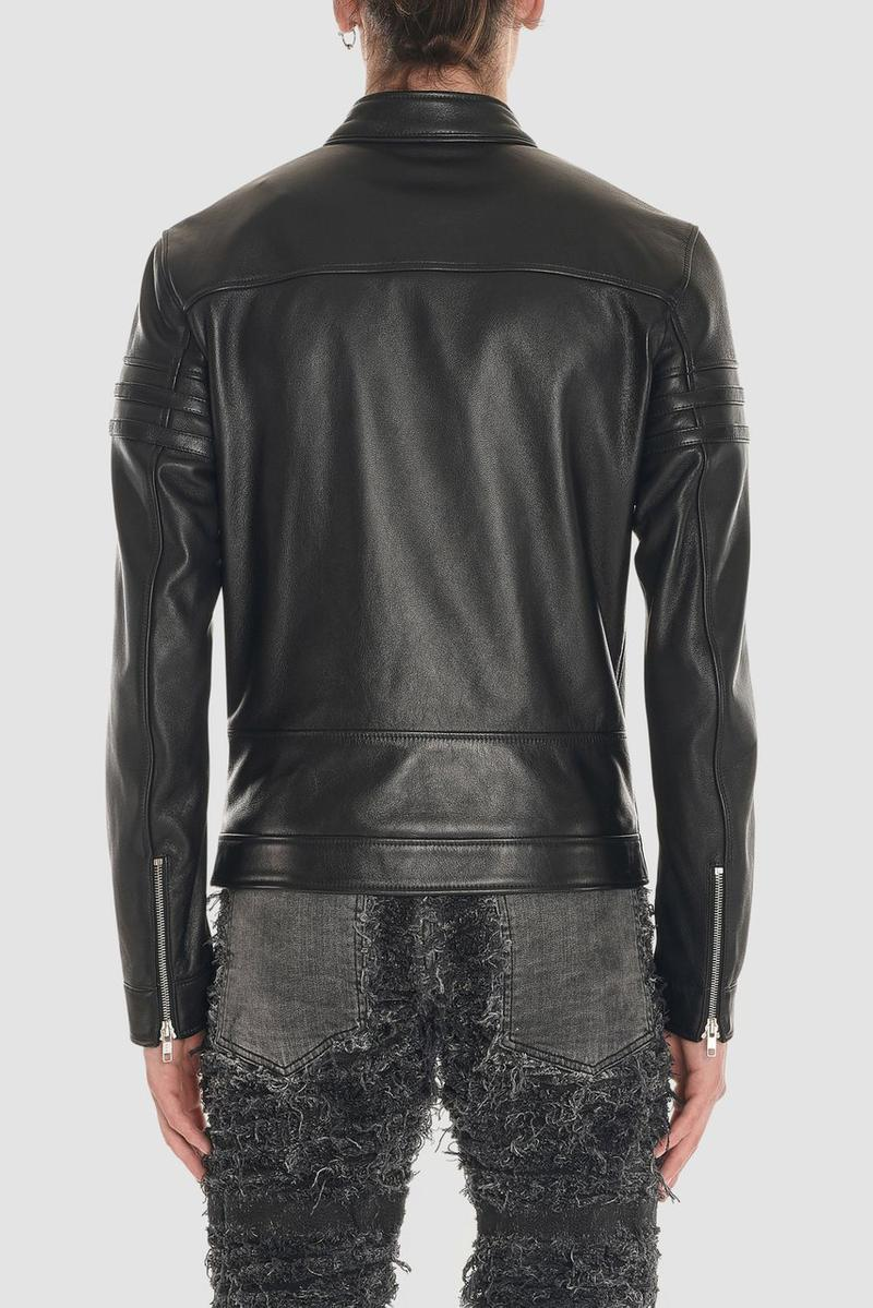 blackmeans 1017 alyx 9sm black leather biker jacket collaboration release fall winter 2019 jeans denim vest