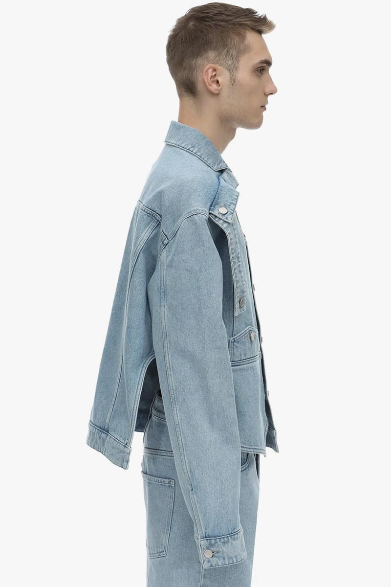 BOTTER Upside Down Cotton Denim Jacket made in italy deconstructed indigo jeans washed reconstructed reworked asymmetrical silver buttons coton