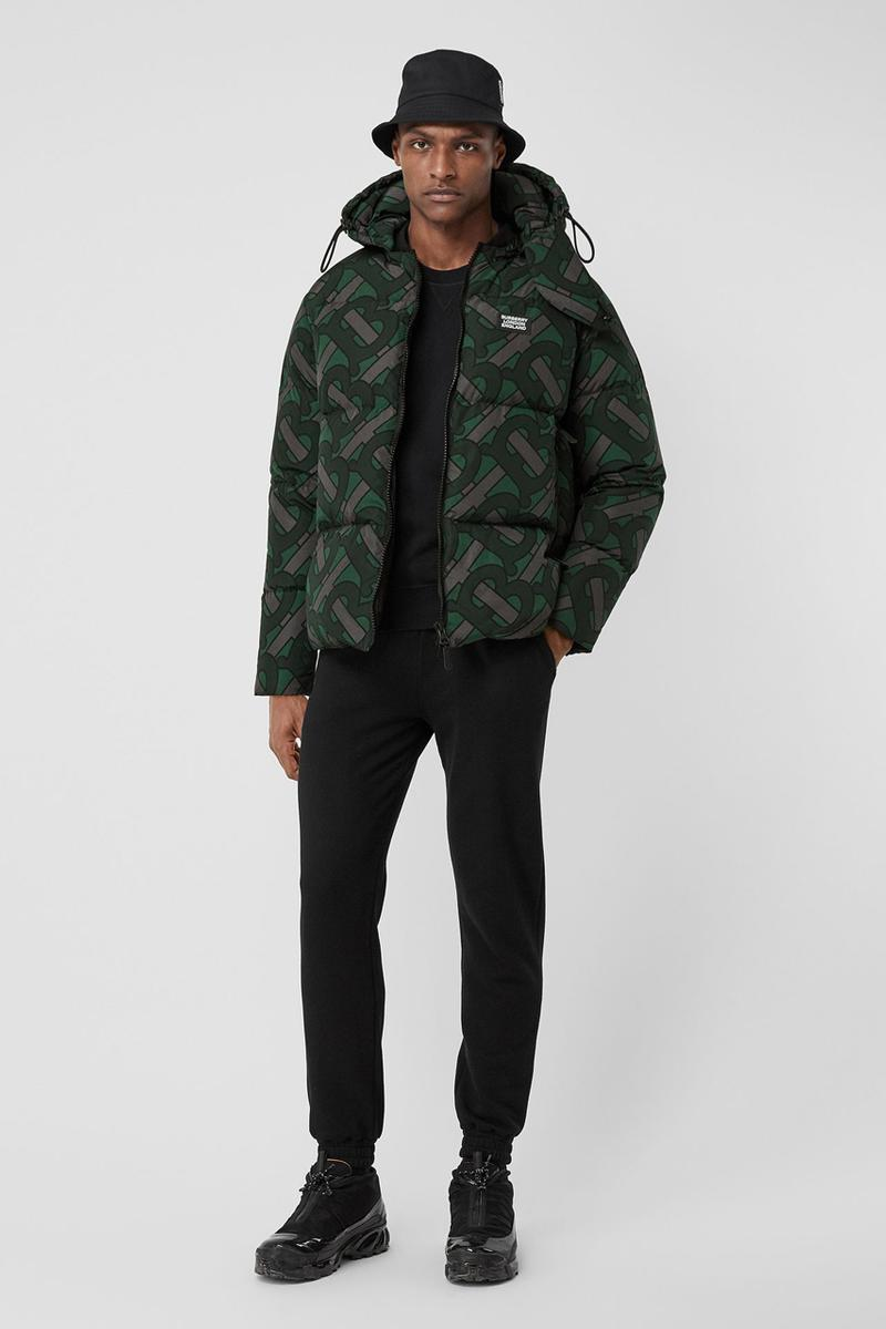 burberry monogram print puffer jacket release fall 2019 steel grey multicolor forest green colorway b all over print