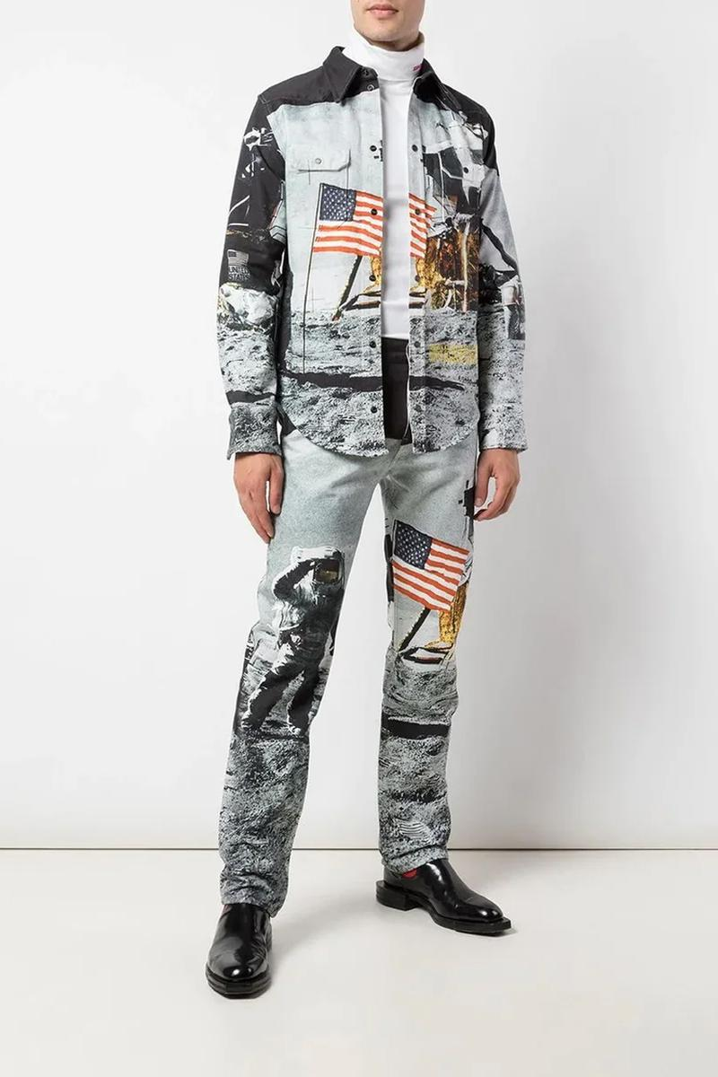 calvin klein jeans est 1978 moon landing denim shirt jeans photographic print fall winter 2019 collared top