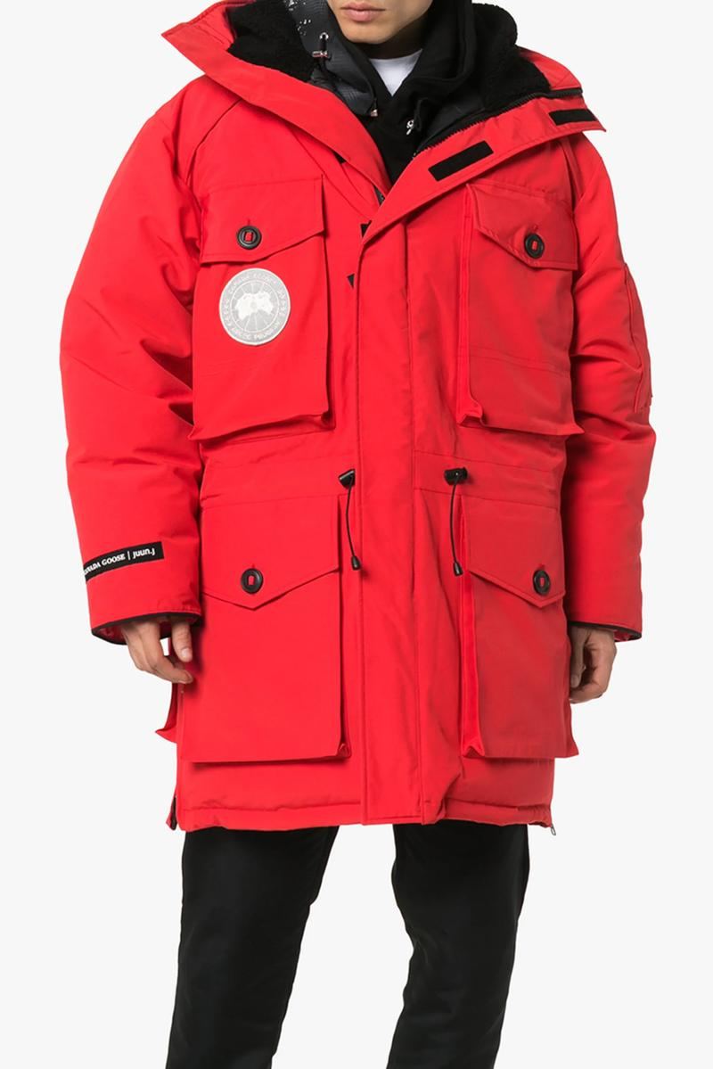 juun j juunj canada goose resolute 3 in 1 parka black expedition hooded parka coat red collaboration release waterproof wind resistant arctic tech shell down feather reflective logo