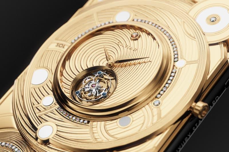 Caviar $70,000 USD Gold-Encrusted iPhone 11 Pro Discovery Solarius custom diamond clockwork mechanism tourbillon mars terra lunar rock stone Tsarev moon apple