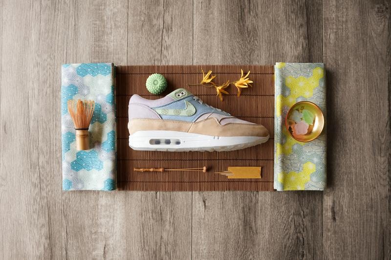 "Ryustyler Chase Shiel ""Wagashi"" Air Max 1s Info Pastel Pink Blue Green Beige Tan Leather Chrysanthemum"