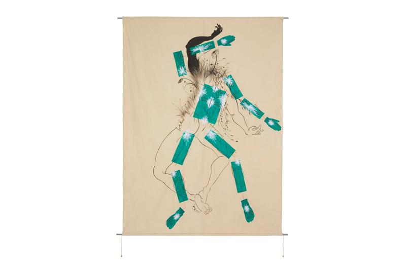 Craig Green Saelia Aparicio Wall Hanging medley Poison Ivy Walnut Tree nature hand stitch embroidery studio sketches anatomical human form
