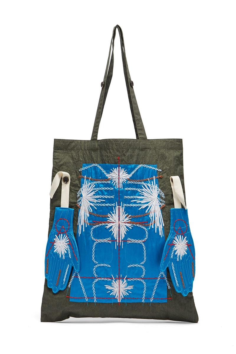 Craig Green FW19 Exclusive Embroidery Pieces matchesfashion.com jacket puckered canvas tote bag keychain body hand colorway