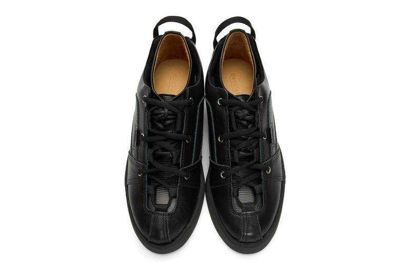 DOUBLET Black Sneakers Layered Dress Derbys two in one hybrid lizzard leather derby interface detachable shoes footwear sneakers trainers