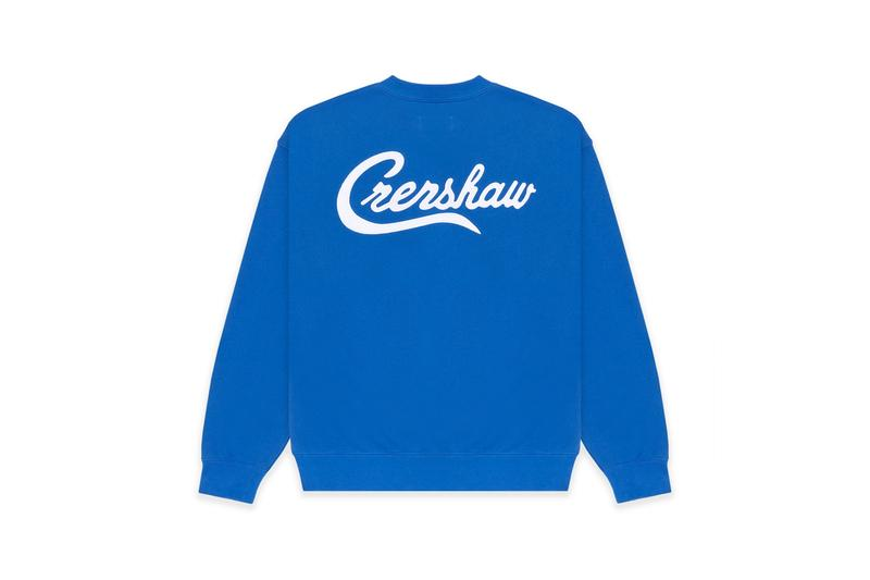 the marathon clothing fear of god essentials capsule collection nipsey hussle 08 crenshaw release retail pop up exhibition los angeles california sweatpants pullover crewnecks sweat shorts royal blue grey collaboration