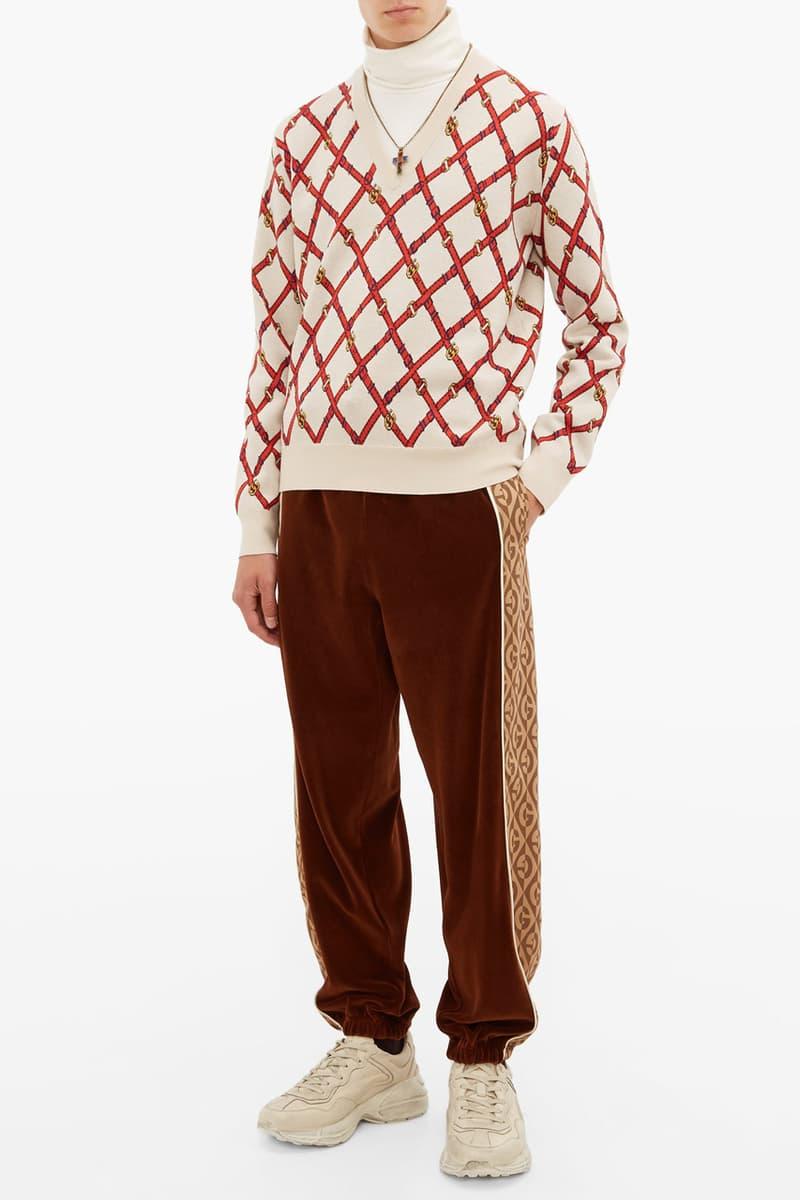 Gucci Jacquard Velour Track Pants Satin Jacket Brown Track Suit White Logo