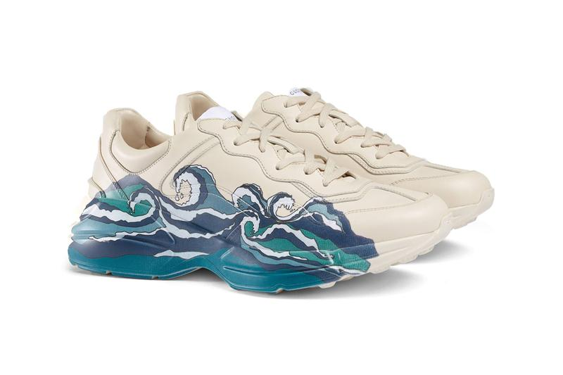 gucci rhyton leather sneakers sneaker with waves ivory leather ocean wave print blue cream colorway release fall 2019 paint graphic
