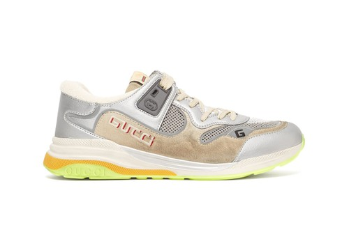 Gucci Drops Distressed Silver-Toned UltraPace Sneaker With '90s-Inspired Neon Details