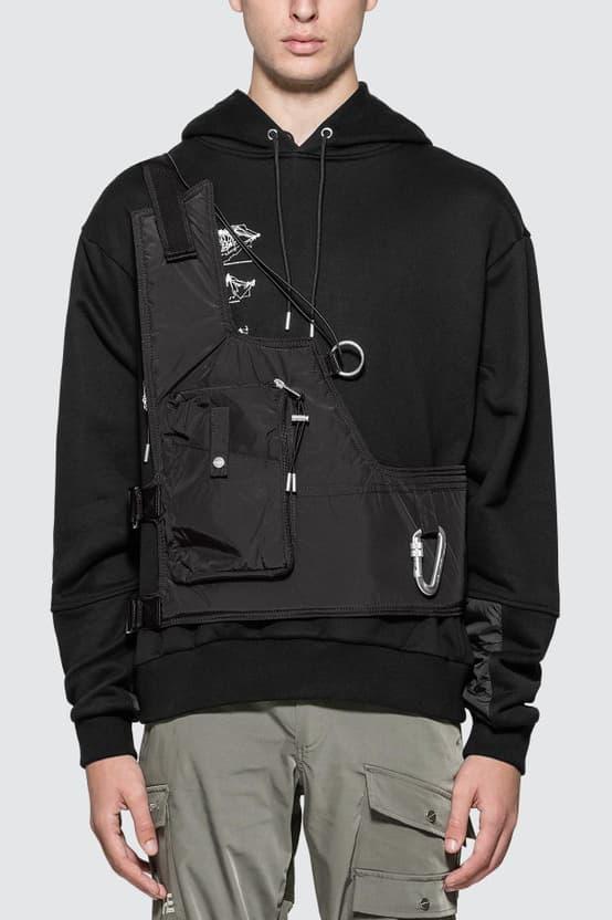 HELIOT EMIL Drawstring Detail Vest Black Carabiner Keyring Silver