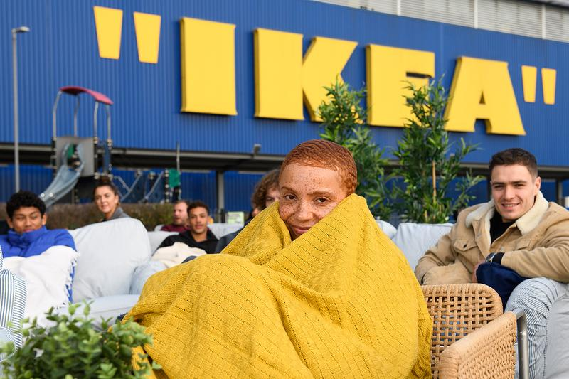 IKEA Quotation Mark Logo Virgil Abloh MARKERAD Collection furniture home goods line queue campout