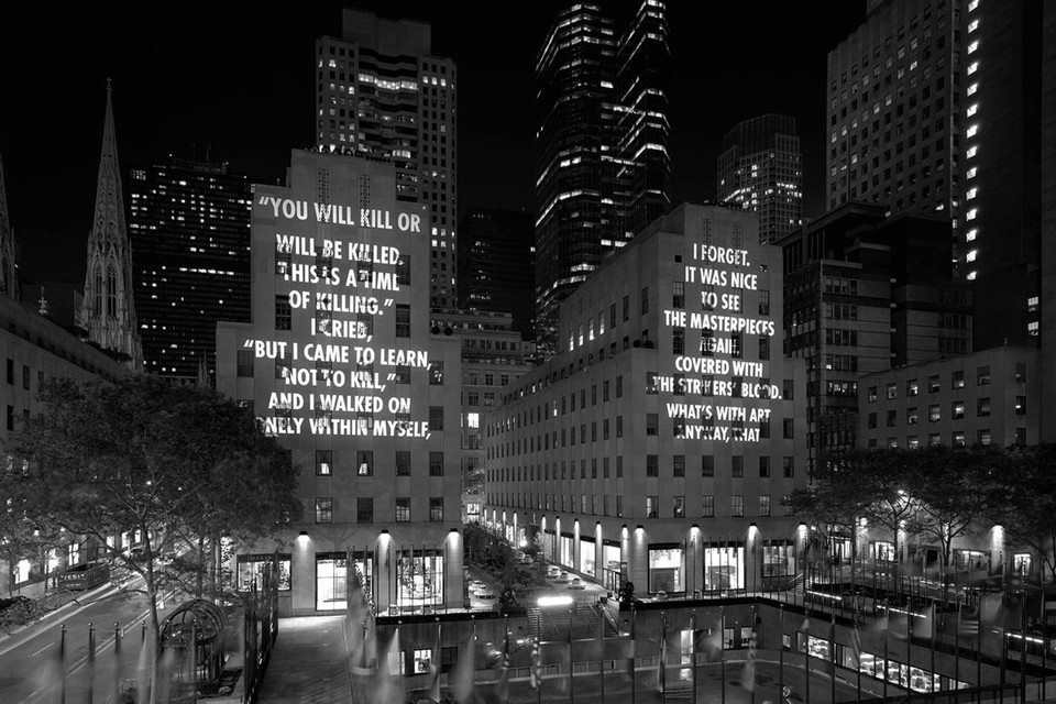 Jenny Holzer Addresses Gun Violence in 'VIGIL' Text-Based Light Projections