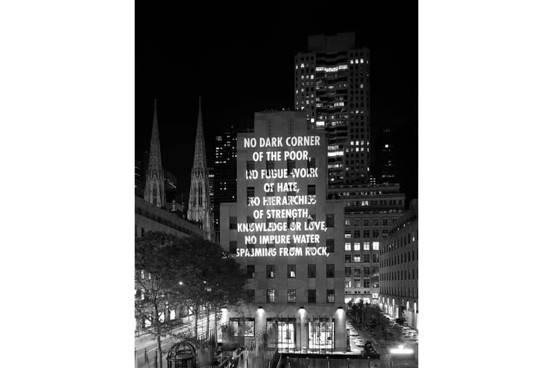 jenny holzer vigil light projection rockefeller center installation artworks