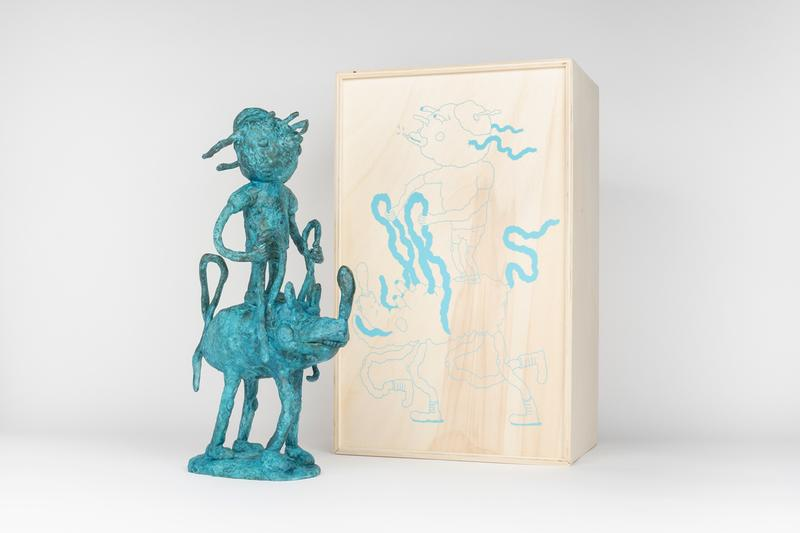 joakim ojanen case studyo boy with bff riding in the wind bronze blue edition sculpture artworks