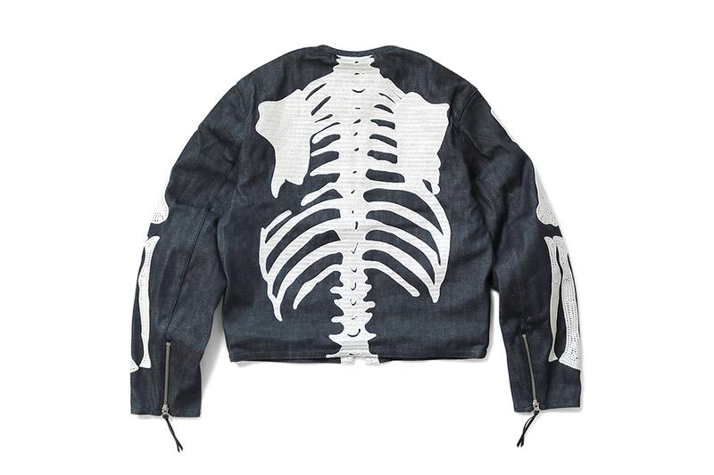 KAPITAL 12oz Denim Bone Crosby Jacket kountry skeleton arms embroidery black dye outerwear layers fall winter 2019 streetwear japanese