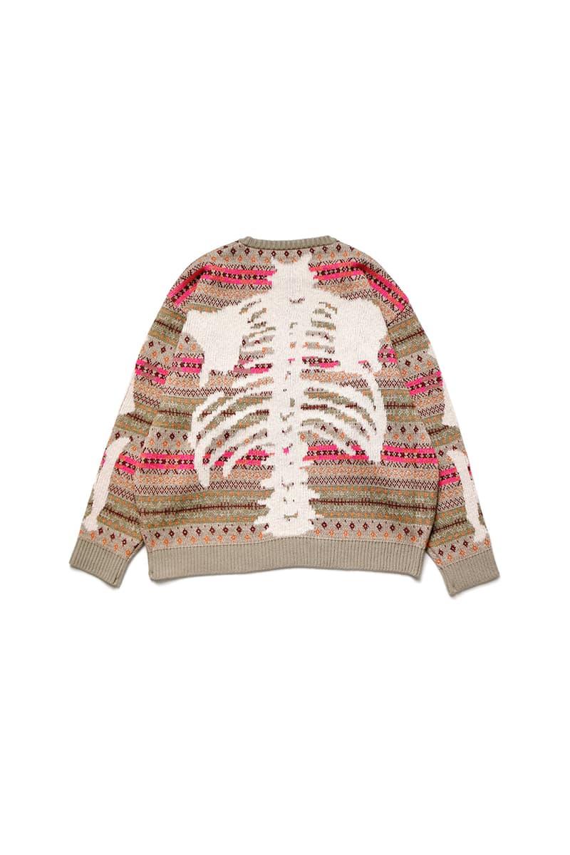 "KAPITAL 7G Wool Fair Isle ""Bone"" Crew Sweater Vest Release Information October Fall Winter 2019 FW19 Spooky Season Skeleton Sweater Intarsia Knit Geometric Patterns"