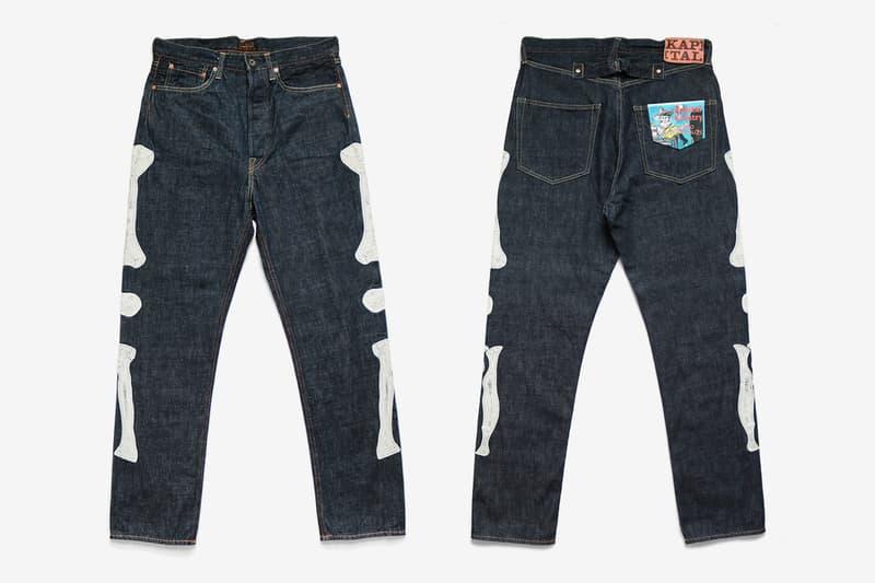 KAPITAL 12 5oz Denim Mexican Tuxedo 5P OKAGILLY raw jeans festivals bone embroidery indigo unwashed pants streetwear japanese tapered