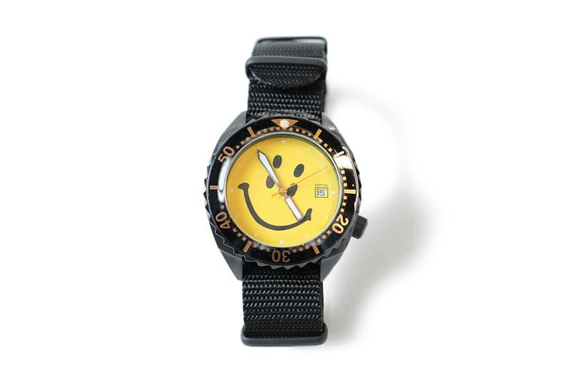 KAPITAL Rain Smile Divers Watch nato strap seiko sbdx face second tracker ripstop nylon black double eye accessories timepiece collectible