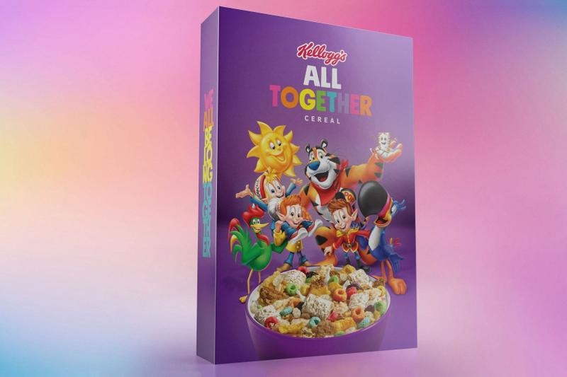 Kellogg's & GLAAD's Drop All Together Cereal anti-bullying campaign lgbtq lgbtq+ lgbtq plus Raisin Bran, Corn Flakes, Rice Krispies, Frosted Flakes, Froot Loops and Frosted Mini Wheats