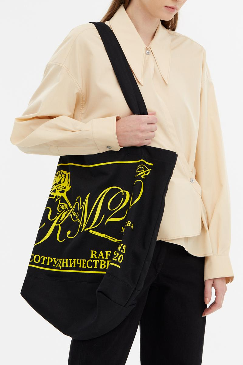 KM20 Raf Simons Capsule Collection Tote Bag Black Yellow Rose Flower В СОТРУДНИЧЕСТВЕ С КМ20 МОСКВА Moscow