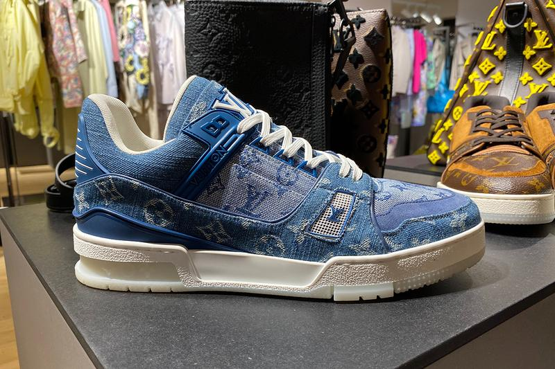 Louis Vuitton Low-Top LV 408 Trainer Denim Blue Monogram First Look Closer Sneak Peak Spring Summer 2020 SS20 Virgil Abloh Designed French Fashion House All Over Print Footwear Sneaker Release Information