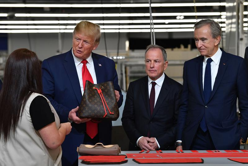 louis vuitton texas leather factory opening bags donald trump virgil abloh Bernard Arnault