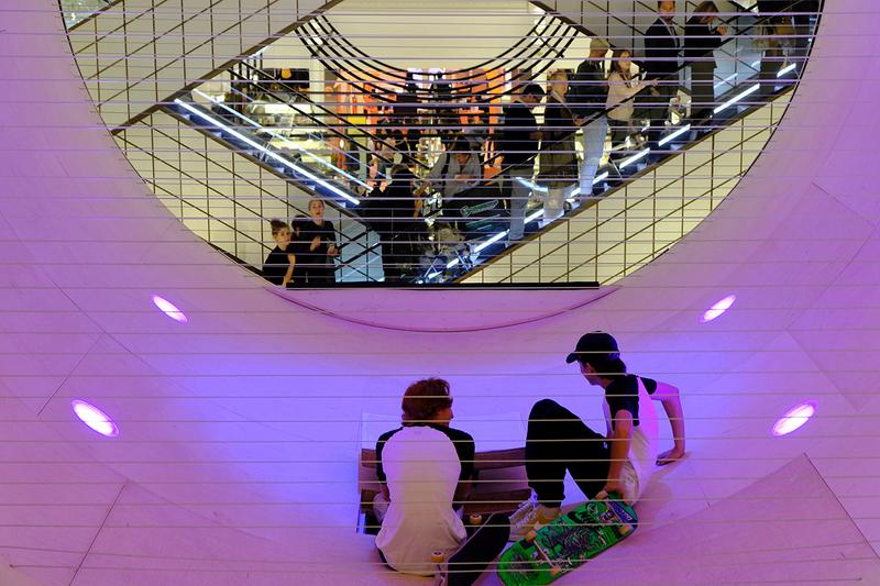 MANA & Scott Oster 'Le Cube' Skate Ramp Installation Le Bon Marché Department Store Paris Skateboarding Art Design Reflective Silver Cube Hollow Circle Full Pipe 360 Dezeen Awards Shortlisted Retail Interior