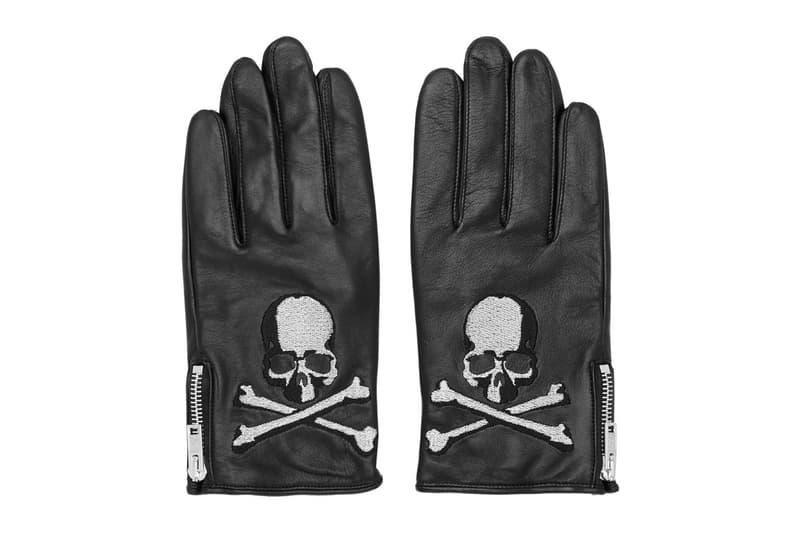 mastermind WORLD Black Leather Skull Gloves skull and crossbones Masaaki Honma embroidery accessories buffed mastermind japan