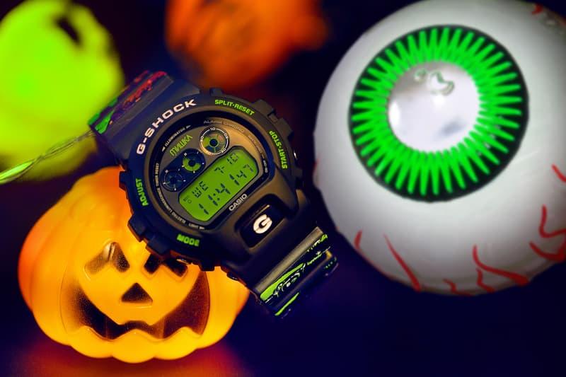 Mishka x Casio G-SHOCK DW-6900 Halloween Themed Watch Timepiece Collaboration Release Information First Look Black Green Glow in the Dark Graffiti Design Print