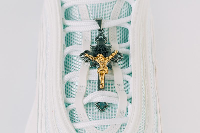 "MSCHF x INRI Nike Air Max 97 ""Jesus Shoes"" Release Information Closer Look Walk on Water Biblical References Pope Crucifix Limited Edition How to Cop Buy Sneakers Footwear Customized Customs Rare"