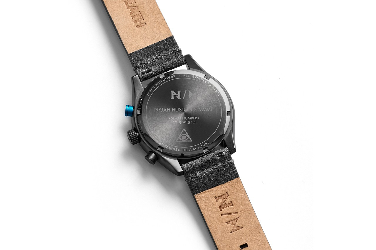 MVMT Nyjah Huston Signature Watch Collaboration The Run Down gunmetal steal pebbled asphalt leather interchangeable link mesh strap water resistant 40mm size chronography asphalt Nyjah's tattoos symbols