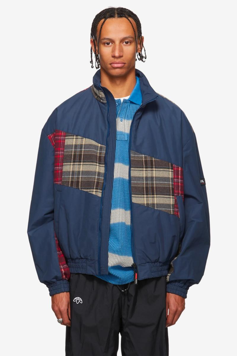 NAPA by Martine Rose Beige Black A Jag Jacket Striped Fleece Button Up Jacket Blue Check Stewart fall winter 2019 collection outerwear fur deconstructed