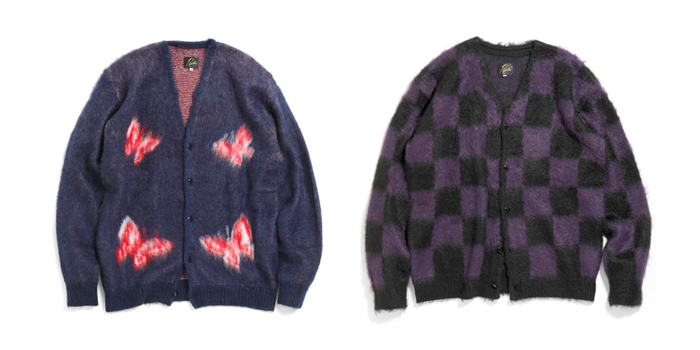 Needles Mohair Cardigan Papillon Checkered Polka Dot nepenthes keizo shimizu sweaters fall winter 2019 knit steve mcqueen tattoo purple