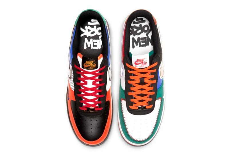 """Nike Air Force 1 Low """"NYC: City of Athletes"""" releases big apple new york city premium colorblocked Nike Air Force 1 Low """"What The NY"""" Knicks yankees jets red bull sports teams"""